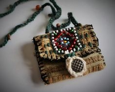 Medicine pouch, Talisman pouch, pouch necklace, stash bag, herb pouch, amulet pouch, Eco friendly, handmade necklace on Etsy, $35.00
