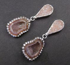 Tabasco Geode Druzy Earrings Gemstone Slice by DoolittleJewelry, $275.00