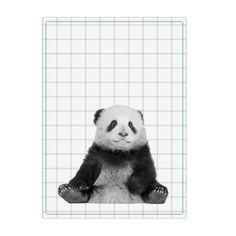 Tea towel panda cotton green stitch