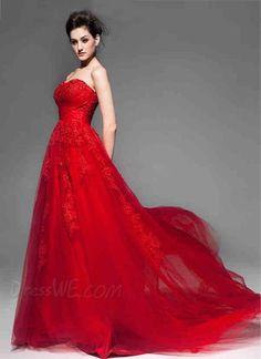 Pretty Sweetheart Lace-Up Appliques Beading Court Train Wedding Dress 10873768 - Color Wedding Dresses - Dresswe.Com