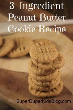 3 ingredient peanut butter cookie recipe + video of recipe http:// Dessert Recipes For Kids, Fun Desserts, Delicious Desserts, Thm Recipes, Cookie Recipes, Peanut Butter Cookies 3 Ingredient Recipe, Pinterest Cookies, Breakfast Dessert, 3 Ingredients