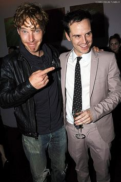 Yes for wonderful-terrible Benedict Cumberbatch photos. Here with Andrew Scott. In a soft shirt, worn jeans, leather, and unnecessarily ruffled wild curls. Some might say bed-hair. Its kind of fantastic. But a terrible photo. :D