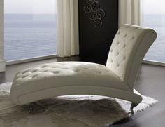 THE FURNITURE :: Comfortable Metal Accent Tufted Chaise Lounge, 'Dupen' Collection by ESF Furniture.