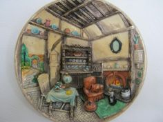 Vintage 50's or 60's chalkware plate or plaque by BUFFYBLING, $34.00