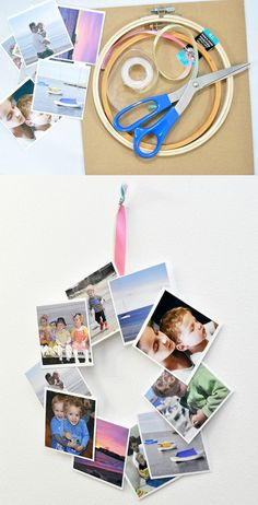 Are you obsessed with Instagram? If you have tons of Insta photos like I do, get them off your camera and turn them into a cute DIY Instagram wreath. Great for kids' photos! Diy Home Crafts, Diy Crafts For Kids, Fun Crafts, Summer Crafts, Holiday Crafts, Photo Wreath, Craft Tutorials, Diy Projects, Craft Ideas