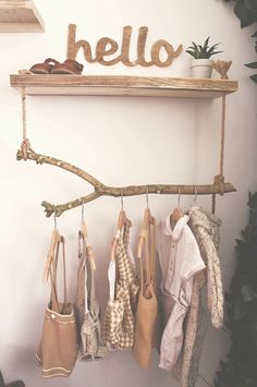 Bohemian and rustic toddler bedroom Stunning bohemian & rustic handmade toddler bedroom ideas. Love this hanging wardrobe idea! Baby Room Diy, Baby Bedroom, Baby Room Decor, Bedroom Decor, Bedroom Ideas, Diy Baby, Boutique Interior, Hanging Wardrobe, Baby Room Design