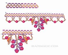 Free pattern for beaded necklace Grapevine     Photo by Prinad    U need:  seed beads 11/0  round beads 4-6 mm  glass