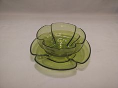 Antique Moser Style Bohemian Green Glass Lobed Finger Bowl & Plate