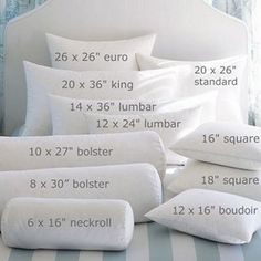 Size guide for pillows.