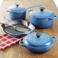 """Le Creuset Cast Iron Cookware Set, 7-Piece - Set includes: • 2 3/4-quart saucepan with lid • 4 1/2-quart round French oven with lid • 1 1/2-quart braiser with lid • 10 1/4"""" square skillet grill http://www.chefscatalog.com/product/29805-le-creuset-cast-iron-cookware-set-7-piece.aspx"""