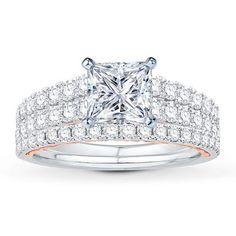 Diamond Bridal Setting 1-1/4 ct tw Round-cut 14K Two-Tone Gold