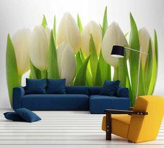 Biele tulipány do obývačky aj spálne | DIMEX Wall Murals, Plants, Inspiration, Wallpaper Murals, Biblical Inspiration, Murals, Wall Prints, Mural Painting, Plant
