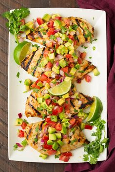kids thought it was too much flavor 😲Grilled Cilantro-Lime Chicken with Avocado Salsa - Cooking Classy Clean Eating Recipes, Healthy Eating, Cooking Recipes, Healthy Recipes, Dinner Healthy, Cooking Food, Delicious Recipes, Free Recipes, Cooking Tips