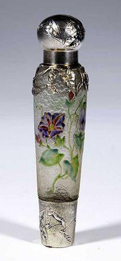 517: Flakon France Glass Parfume Bottle Art Deco Old