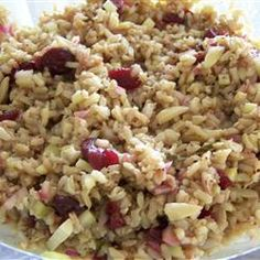 Balsamic Brown Rice Salad Allrecipes.com  I used onion tops instead of red onion and my cranberries were a cranberry/glazed nut mix. I used sugar instead of splenda. I loved it.