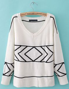 White V Neck Long Sleeve Geometric Pattern Sweater - Sheinside.com