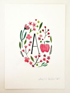 Monogram Letter A floral apple art print by AmeliaHerbertson... for my Ali!