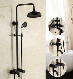 "Bathroom Antique Black Paint Solid Brass Shower Set Wall Mounted 8"" Rainfall Shower Mixer Tap Faucet 3-functions Mixer Valve"
