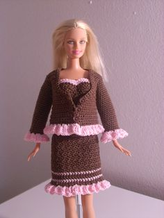 Crochet for Barbie (the belly button body type): Chocolate Jacket with Pink Ruffle