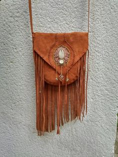 bohemian macrame fringe leather bag by inespu on Etsy Leather Gifts, Leather Bags Handmade, Leather Pouch, Leather Jewelry, Leather Purses, Leather Totes, Fringe Handbags, Fringe Purse, Boho Hippie