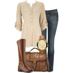 Weekender by allij28 on Polyvore featuring Wallis, Etienne Aigner, FOSSIL, Michael Kors, skinny jeans and riding boots
