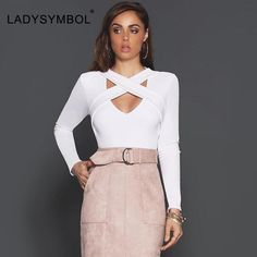 LADYSYMBOL Autumn 2016 Slim Blouse Shirt Women Crop Tops Casual Long Sleeve V Neck Hollow Sexy Club Fashion Party Women Top Girl