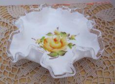 Fenton Milk Glass Silver Crest Yellow Rose by GotMilkGlassAndMore