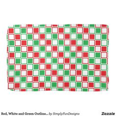 Red, White and Green Outlined Squares Towel