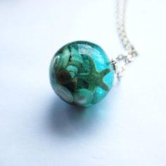 The Mermaid's Necklace 04 Nautical Jewelry Resin Orb Starfish Tiny Seashells Pearl Specimen Necklace Fairy Tale Fantasy Unique Handmade