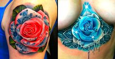 Beautiful roses in various compositions and colors by Andrés Acosta, tattooer from Austin, TX