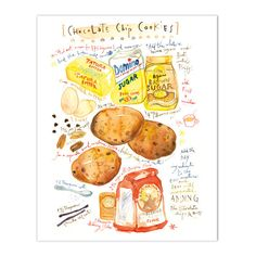 "Chocolate chip cookie recipe Illustrated recipeArchival giclee reproduction print. Signed with pencil. Printed on fine art "" BFK Rives "" hot-pressed paper, smooth surface, 140 lb, 100% cotton (acid fr"