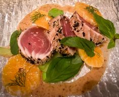 Seared tuna with clementines from the Ivy Soho Brasserie in London.