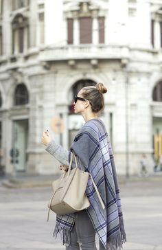 Moody in Milan via BrooklynBlonde.com / @Helena Glazer Poncho: Theory   Sweater: H&M   Denim: H&M   Shoes: Manolo Blahnik   Bag: Celine (borrowed from Wendy) Monday, September 28, 2015