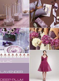 Lilac Lavender Deep Plum Wedding Colours Palette,autumn wedding colors