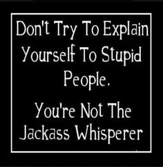 I sometimes am jealous of Jackass Whisperers. I personally don't understand Jackasses.  At ALL. :(