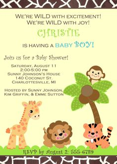 BABY SHOWER Jungle Safari Zoo Animals Invitation for Girl, Boy, or Gender Unknown. $11.00, via Etsy.