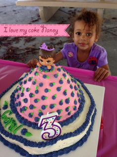 """Coral Alyssa, my beautiful Granddaughter and her """"Princess Cake."""" She's 3!"""