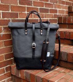 Ciré toile Roll Top sac à dos avec sangles de cuir/poignées/ciré toile Messager-gros gris et noir sac parfait pour voyager