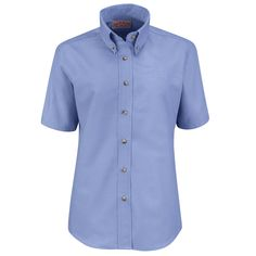 Red Kap Women's Poplin Dress Shirt - Short Sleeve - Light Blue - Add a touch of style to the day. This dress staple features tortoise shell buttons a female silhouette and eight color choices. Combined with our Touchtex technology for superior color retention and soil release this shirt gets it right every time. | #RedKap