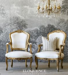 Wallpaper + chairs : Eloquence One of a Kind Vintage French Louis XV Gilt Armchairs Pair French Furniture, Classic Furniture, Vintage Furniture, Furniture Decor, Furniture Design, Furniture Storage, Antique Chairs, Vintage Chairs, Glam Room