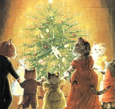 Victorian Cats, Susan Herbert,  Antique / Vintage Art Prints, Christmas Tree Cats,  Print 29. $9.50, via Etsy.