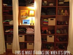 Take an old book shelf and turn it into a closet
