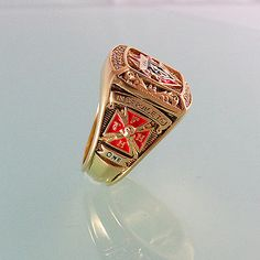 Masonic Knights of Columbus Ring Unique Design 18K Yellow Gold Plated 40 gr.