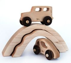 Etsy find of the day - personalised wooden toy car & truck with bridge