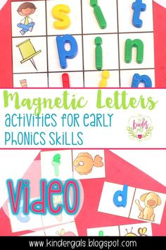 Kim Adsit from The KinderGals shares how to use magnetic letters for activities that teach early phonics skills in kindergarten! Teaching Letters, Teaching Phonics, Learning The Alphabet, Kids Learning, Abc Alphabet, Phonics Activities, Alphabet Activities, Kindergarten Activities, Magnetic Letters