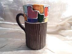 Vintage original Aldo Londi Bitossi Italian Mondrian Art Pottery Carved Bark Mug #Bitossi