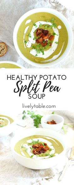 This smooth and creamy potato split pea soup will keep you warm all the way through spring! An easy, healthy meal for any cold night. (gluten-free, dairy-free, vegetarian option) | Sponsored | via livelytable.com