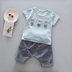 2017 Infant Boys Baby Summer Fashion Set Short Sleeve T-Shirt and Pants 2pcs Suit Striped Cartoon Light Cotton Leisure Set Girls //Price: €15.6 & FREE Shipping //   #fashion #baby #clothes #trendy #2017