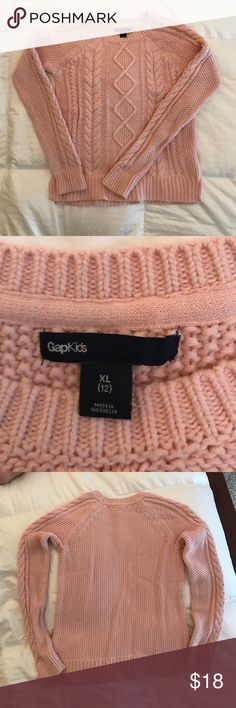 Girls cable knit sweater Pink long sleeve cable knit sweater. Gently used. Good condition. No visible stains. Gap kids Shirts & Tops Sweaters