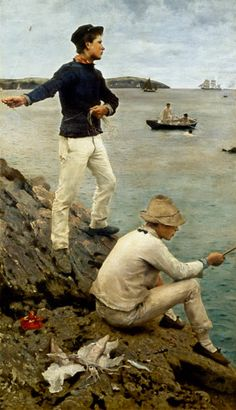 Henry Scott Tuke 'Fisher boys' Peter And The Starcatcher, Cornish Coast, Falmouth, Vintage Artwork, Artist Names, Pre Raphaelite, Magazine Art, Portrait Art, Gay Art